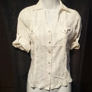 "White Snap ""Button"" Up Shirt with Pockets"